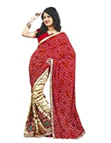 Faux Georgette Saree in Red Colour for Casual Wear