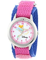 Disney Kids W000078 Tinker Bell Stainless Steel Time Teacher Watch with Pink and Blue Band