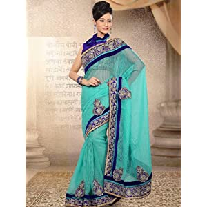 Green & Blue Colored Net Style Jacquard Saree - Model Number WSV32630