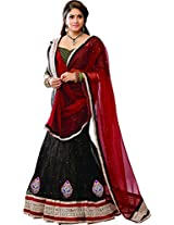 Melluha Women's Net Lehenga Choli(ml-0069_Black_Free Size)