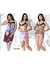 Odishabazaar Womens Nighty Sexy Satin 4 Pc Lingerie Top + G String Baby Doll Sleep Wear Gown Robe (Multi-coloured_Free Size)