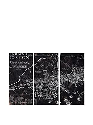 Oliver Gal Town of Boston Map 1722 Triptych Canvas Art