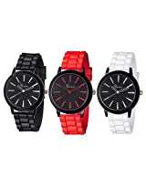 Ggi International Geneva Set Of Red & Black And White W/ Black Silicone Jelly Watch - Gen-Jl-Set3