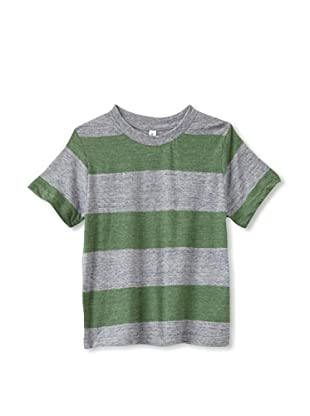 Colorfast Apparel Boy's Heathered Stripe Tee (Green/Charcoal)