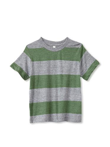 Colorfast Apparel Boy's Heathered Stripe Tee (Green/Charcoal)