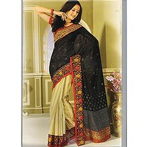 Bhagalpuri Silk Printed Beige & Black Half & Half Saree - 7417