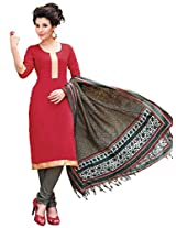 Inddus Women Red & Grey Printed Dress Material