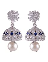 Silver Prince 8.5 Grm Pearl, White Cubic Zirconia, Blue Cubic Zirconia Bestseller 925 Silver Earrings
