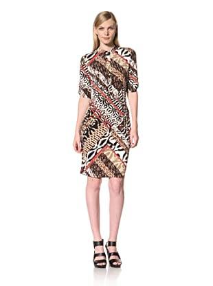Calvin Klein  Women's Printed Jersey Shirt Dress (Rouge Multi)