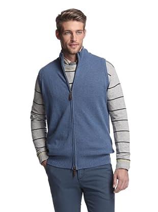 Oxxford Men's Zip-Up Vest (Blue)