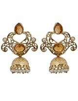 Hyderabadi Abhushan earrings with gold color stones