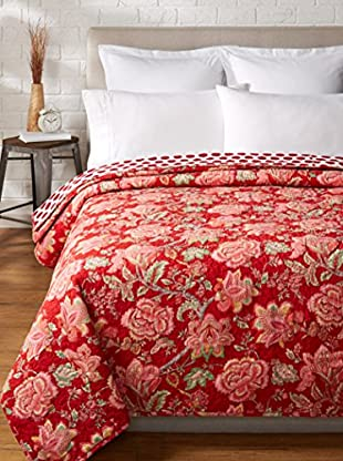 North Rodeo Collection Floral Block Hand Stitched Queen Quilt, Red/White
