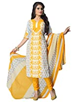 Vaamsi Women Poly Cotton Dress Material (Cocp45 _Yellow _Free Size)