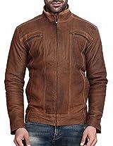 Scharf Men's Body Con jacket(JAL04,Brown,large)