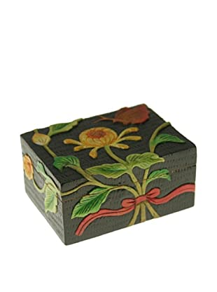 The Niger Bend Rectangular Soapstone Box with Chrysanthemum/Butterfly Design