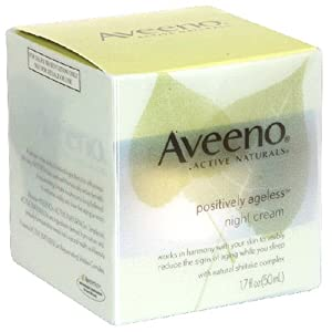 Aveeno Active Naturals Positively Ageless Night Cream with Natural Shiitake Complex, 1.7 Ounce