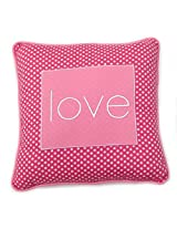 One Grace Place Simplicity Hot Pink Decorative Pillow Love, Hot Pink, Pink, and White
