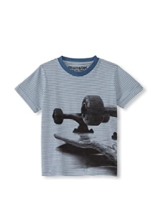 Munster Kid's Flipped Cotton Jersey Tee (Dusty Blue Stripe)