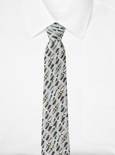 Emilio Pucci Men's Oval Stripe Tie, Grey/Aqua