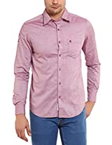 Classic Polo Men Cotton Pink Long Sleeve Shirt