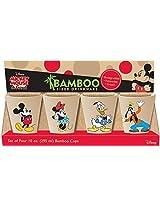 Vandor Disney Mickey and Friends 4 Piece Bamboo Cup Set, 10 oz, Multicolored