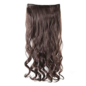 One Piece 10 Colors 17''/24''/26'' Long Curly/wavy Human Hair Extension Extensions Clip in Human Hair Curly Wavy Clip Medium Brown/24'' AD