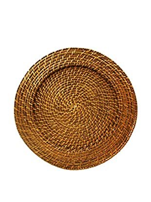 ChargeIt! by Jay Round Rattan Charger, Light Brown