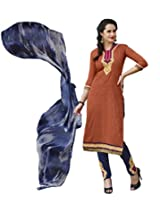 Kvsfab Brown Pure Cotton Salwar Kameez