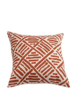 Filling Spaces Hand-Printed Brushstroke Pillow, Coral