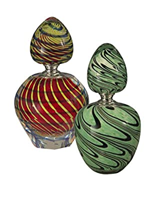 Dale Tiffany 2-Piece Swirl Perfume Bottle Set, Orange/Mint