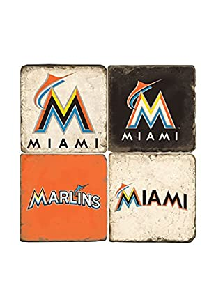 Studio Vertu Set of 4 Miami Marlins Logoed Tumbled Marble Coasters with Stand