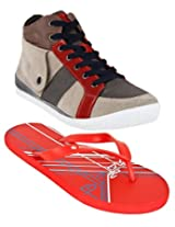 Gas Casper Beige And Red Men Casual Shoes with Lotto Slippers