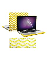 "TopCase 3 in 1 Bundle - Chevron Series Ultra Slim Light Weight Rubberized Hard Case Cover and Matching Color Chevron Zig-Zag Keyboard Cover Skin with LCD Screen Protector for Macbook Pro 15"" A1286 - NOT for Retina Display - w"