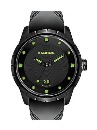 K&BROS 9454-3 / Reloj de Caballero  con correa de caucho Negro / Verde