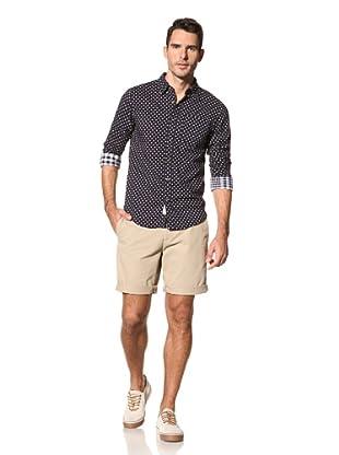nüco Men's Woven Long Sleeve Shirt (Indigo Big Dot)
