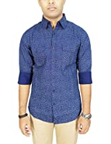 AA' Southbay Men's Dark Blue 100% Cotton Geometry Printed Long Sleeve Casual Shirt with 2 Flap Pockets