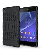 Jkase Ultra Fit Tough Rugged Dual Layer Protection Case with Build in Stand for Sony Xperia Z2 - Black