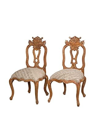Guildmaster Pair of Carved Acanthus Side Chairs (Brown)