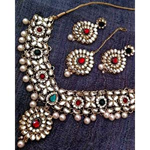 Kundan Set in red and green flowers by Mirraw
