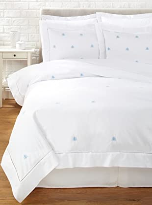 Haute Home Embroidered Bee Duvet Set (Blue)