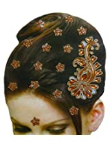 DollsofIndia Golden and Rust Color Stone Studded Stick-on Hair Decoration (Can Be used on Other Parts of the Body) - Stick-on Hair Decoration - Brown