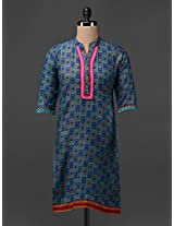 Mandarin Collar Printed Cotton Kurta