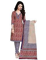 Salwar Studio Maroon & Blue & Cream Cotton Dress Material with Dupatta SHIMAYAA-1211
