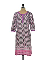 Geometric Cotton Kurta In Pink & Grey