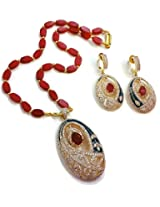 Divinique Jewelry Blue n ruby ad pendent set