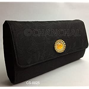 Chanchal Silk & Chanderi Clutch - Black