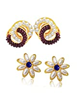 SURATDIAMOND Pearl Stud For Women -White, Blue & Red
