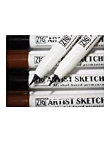 Zig Artists Sketching Pen Black & Sepia Assortment Set of 4