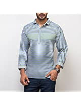 Yepme Men's Green & Blue Cotton Polyester Blend Kurta Shirt - YPMKURTA0169_38