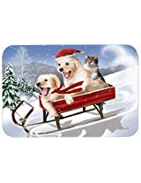 Caroline's Treasures PTW2015CMT Dogs and Kitten in Sled Need for Speed Kitchen or Bath Mat, 20 by 30 , Multicolor